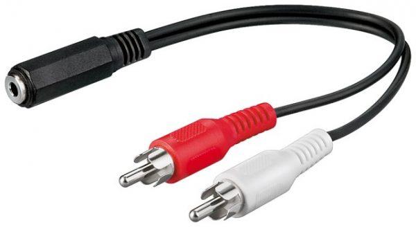 Cablu audio 0,2m 3,5mm Jack stereo mama la 2 x RCA tata