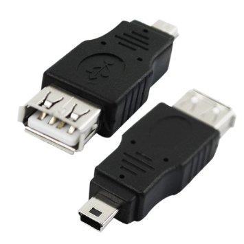 Adaptor OTG USB 2.0 A mama la 5 pini mini B tata, miniUSB